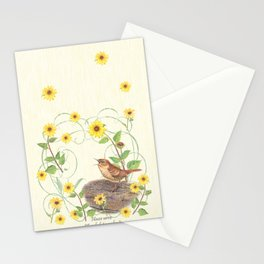 House Wren with sunflower Stationery Cards