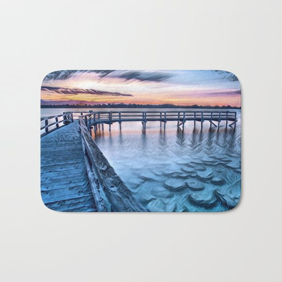 Dock on the River (Sunset) Bath Mat