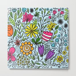 Mixed colorful flowers pattern Metal Print