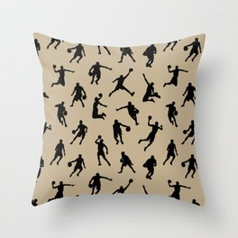 Basketball Players // Khaki Throw Pillow