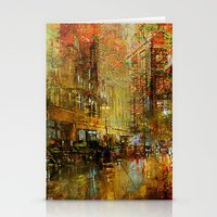 detroit Stationery Cards featuring An evening in Detroit by Ganech joe