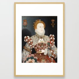 Portrait of Queen Elizabeth I by Nicholas Hilliard, 16th Century Framed Art Print