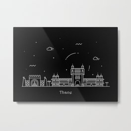 Thane Minimal Nightscape / Skyline Drawing Metal Print