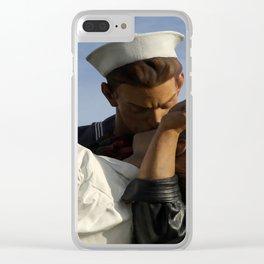 Kissing Sailor And Nurse Portrait Clear iPhone Case