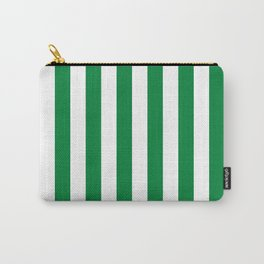 Forest green and white cabana tent stripes, modern minimal decor, stripes pattern Carry-All Pouch