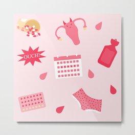 Endometriosis Period Pain Pattern Metal Print