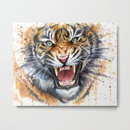 Tiger Watercolor Animal Painting Metal Print