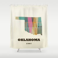 oklahoma Shower Curtains featuring Oklahoma state map modern  by bri.buckley