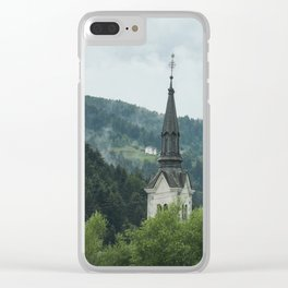 Church Steeple in the Fog Clear iPhone Case