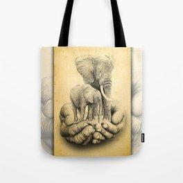 Refuge Elephants Drawing Tote Bag