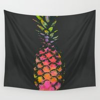 pineapple Wall Tapestries featuring Pineapple by Georgiana Paraschiv