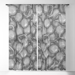 Kettlebells B&W Sheer Curtain