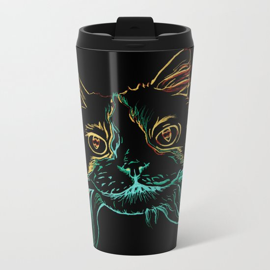 Fluffy Tuxedo Kitty Metal Travel Mug
