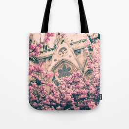 Paris, Notre dame details and cherry blossoms Tote Bag