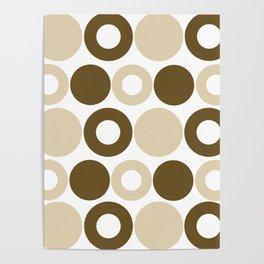 Brown Circles, Tan Dots, Pattern, Digital Design Poster