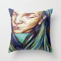 leah flores Throw Pillows featuring Leah by Chloe Gibb