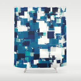geometric square pattern abstract background in blue Shower Curtain