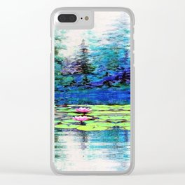 BLUE SPRUCE GREEN LILY PADS LAKE ART Clear iPhone Case