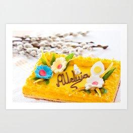 yellow decorative Easter cake Art Print