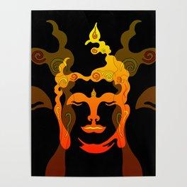 Illustration Buddha Head orange black design Poster