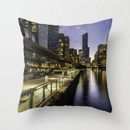 The Chicago riverwalk scene at dusk Throw Pillow