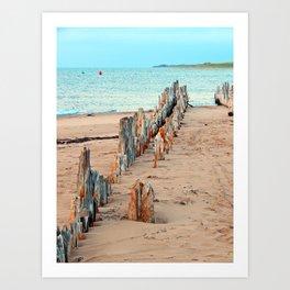 Wharf Remains on the Beach Art Print