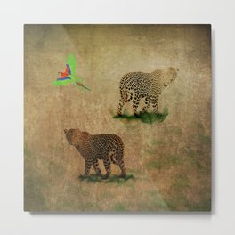 Parrot Flight Through Leopards Metal Print