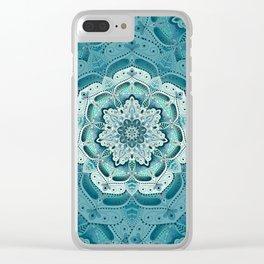 Winter blue floral mandala Clear iPhone Case