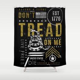 Gadsden Flag Don't Tread on Me Revolution USA Military Rattlesnake Flag Grunge Distress Shower Curtain