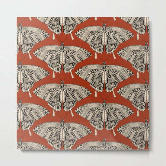 swallowtail butterfly terracotta black Metal Print