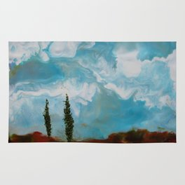 Cypress Trees encaustic wax painting by Seasons Kaz Sparks Rug