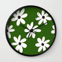 Green Daisies  Wall Clock
