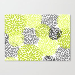 Chartreuse and gray dahlias blossoms art Canvas Print