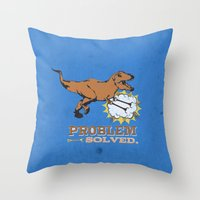 trex Throw Pillows featuring problem solved... trex with arms.. by studiomarshallarts