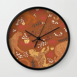 Jungle Cat Party in Rust Wall Clock