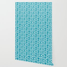 Funky Mid Century Modern Pattern Turquoise Wallpaper
