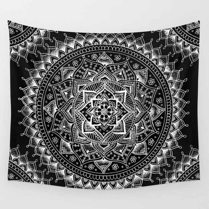 White Flower Mandala On Black Wall Tapestry By Laurelmae