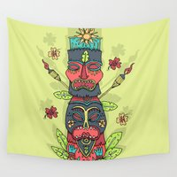 tiki Wall Tapestries featuring Tiki totem by Binnyboo