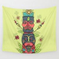 tiki Wall Tapestries featuring Tiki totem by Binnyboo