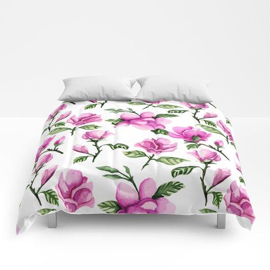 Pink magnolias. Watercolor Comforters