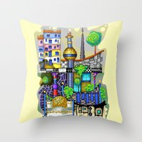 vienna Throw Pillows featuring Vienna  by Aleksandra Jevtovic