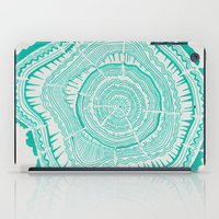 tree rings iPad Cases featuring Turquoise Tree Rings by Cat Coquillette
