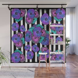 Florals over black and white stripes Wall Mural