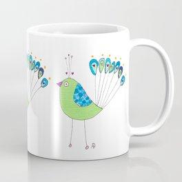 Peacock Fan Heart Coffee Mug