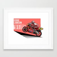 nan lawson Framed Art Prints featuring Eddie Lawson - 1991 Misano by Evan DeCiren
