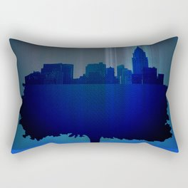 Point of view on the city blue Rectangular Pillow