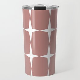 Atomic Age Starburst Pattern in 50s Pink and White. Minimalist Monochrome Mid-Century Modern Travel Mug