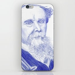 Charles Dickens Portrait In Blue Bic Ink iPhone Skin