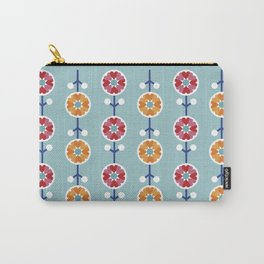 Scandinavian inspired flower pattern - blue background Carry-All Pouch