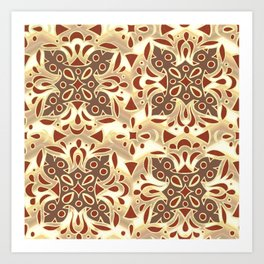 Groovy Floral and Geometric Pattern Autumn Colors Art Print